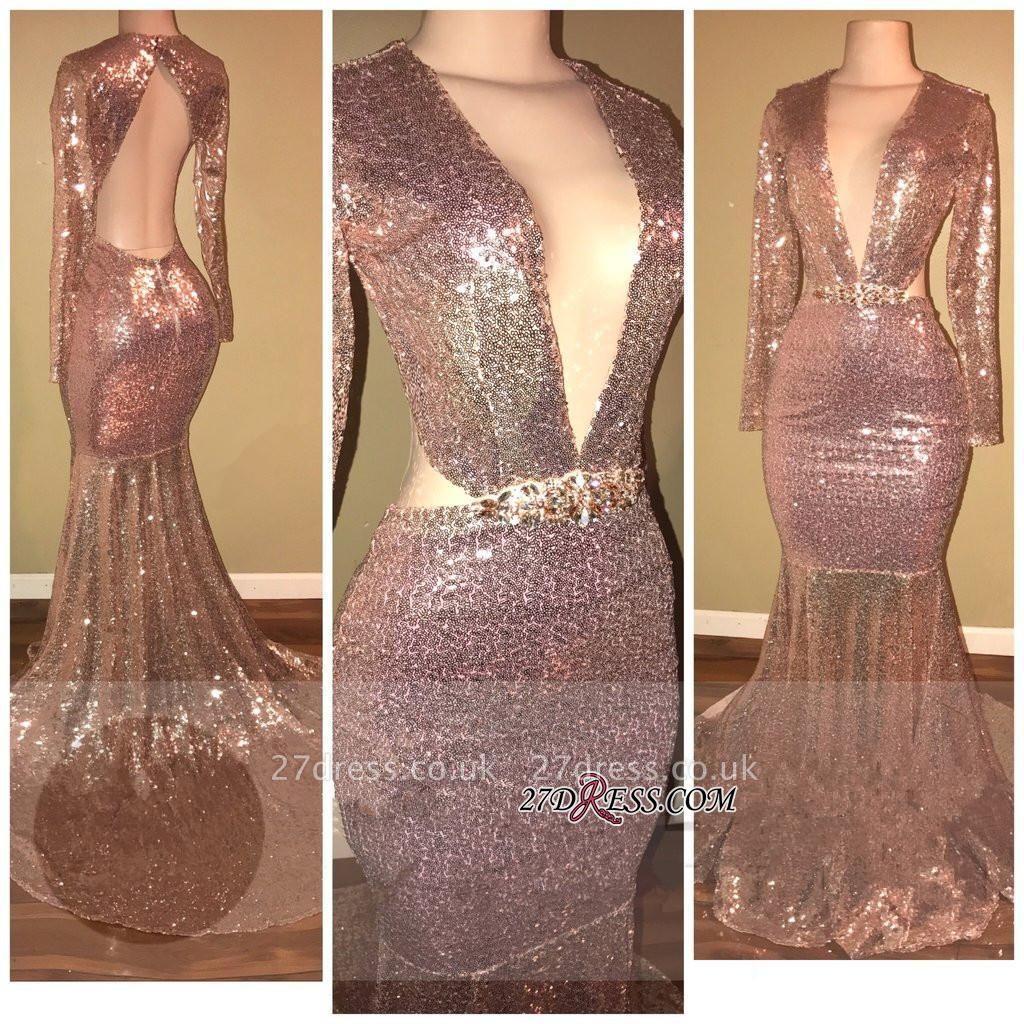 Sequined V-neck Luxury Mermaid Backless Long-Sleeve Prom Dress UK SP0295
