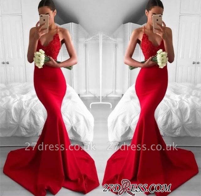 Lace V-Neck Long Red Mermaid Lace Elegant Prom Dress UK