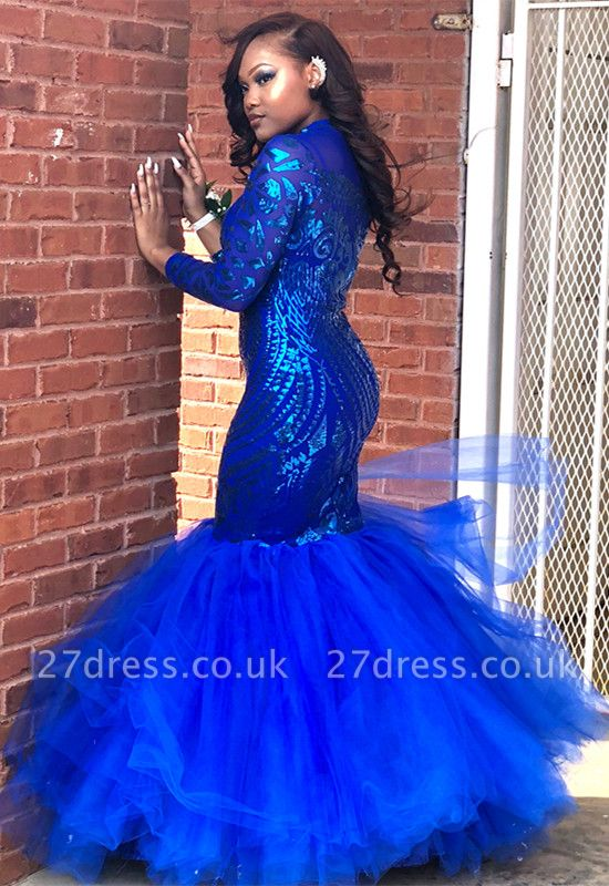 Royal-Blue Mermaid Prom Dress UK   Long Sleeve Sequins Party Gowns BK0