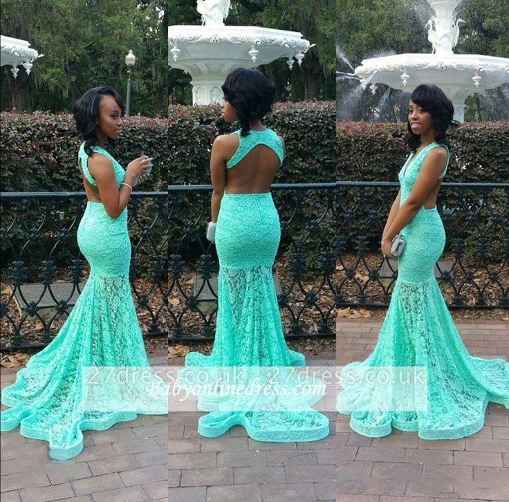 V-Neck Mermaid Sleeveless Simple Open-Back Lace Prom Dress UK BK0