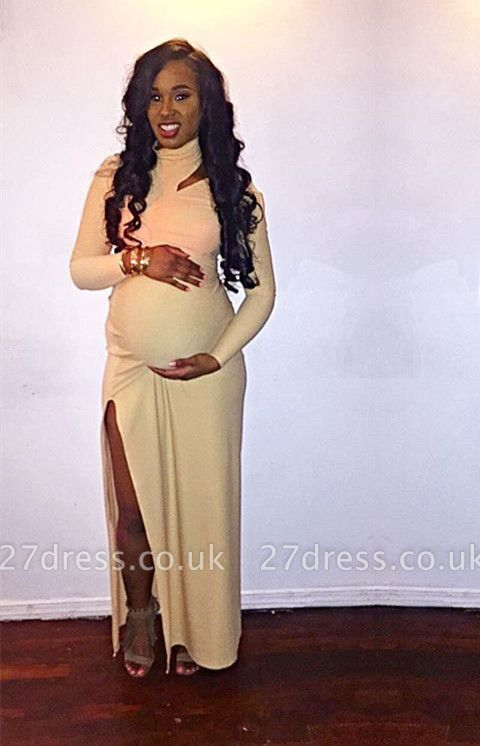 Sexy High Neck Long Sleeve maternity Dress UK Long party Gowns BA8430