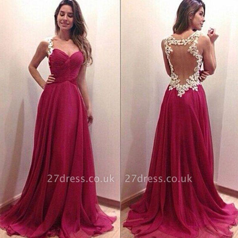 Modern Sweetheart Sleeveless Chiffon Prom Dress UK Spaghetti Strap Floor-length With Appliques