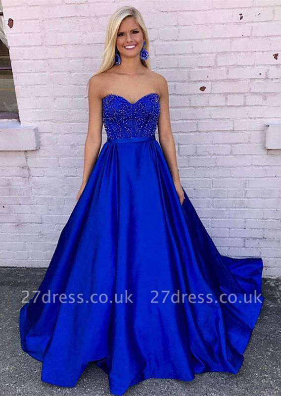 Sexy Royal Blue Evening Dress UK A-Line With Beadings