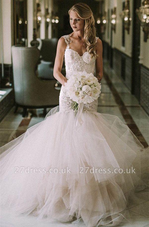 Gorgeous Lace  Sexy Mermaid Wedding Dresses UK | New Tulle Cheap Wedding Dresses UK