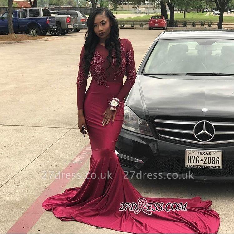 Sheer Tulle Long-Train Burgundy Appliques Mermaid Long-Sleeve Prom Dress UK BK0 BA6112