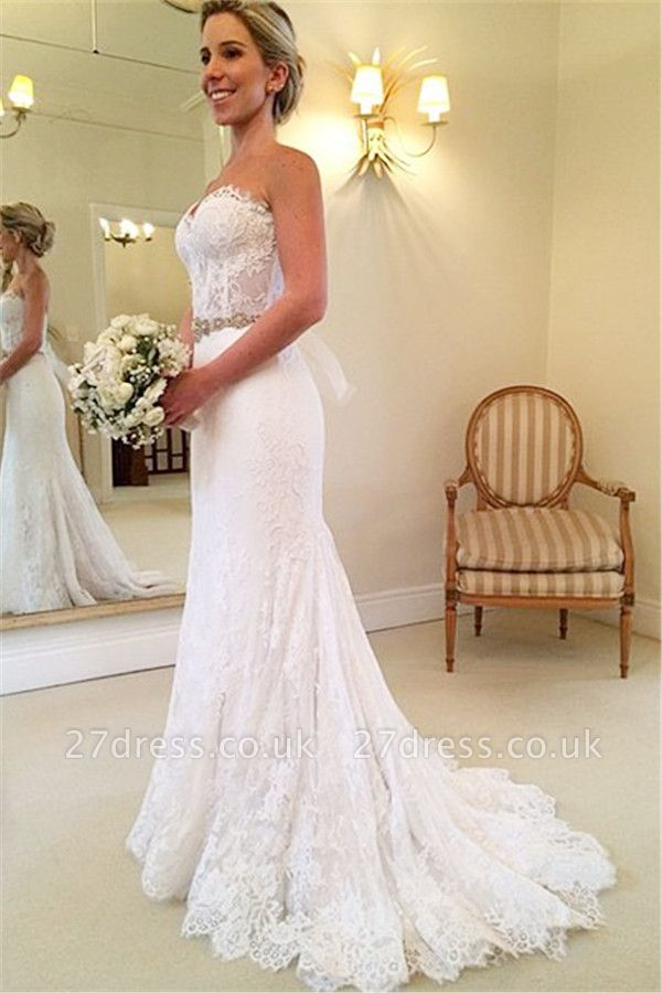 Delicate Sweetheart Sleeveless Lace Sexy Mermaid Wedding Dress With Beadss BA1598