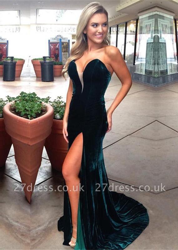 Sexy Sweetheart Velvet Prom Dress UK Mermaid With Slit BA7689