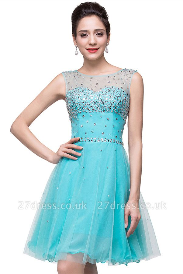 Classic Sleeveless Tulle Short Homecoming Dress UK With Crystals