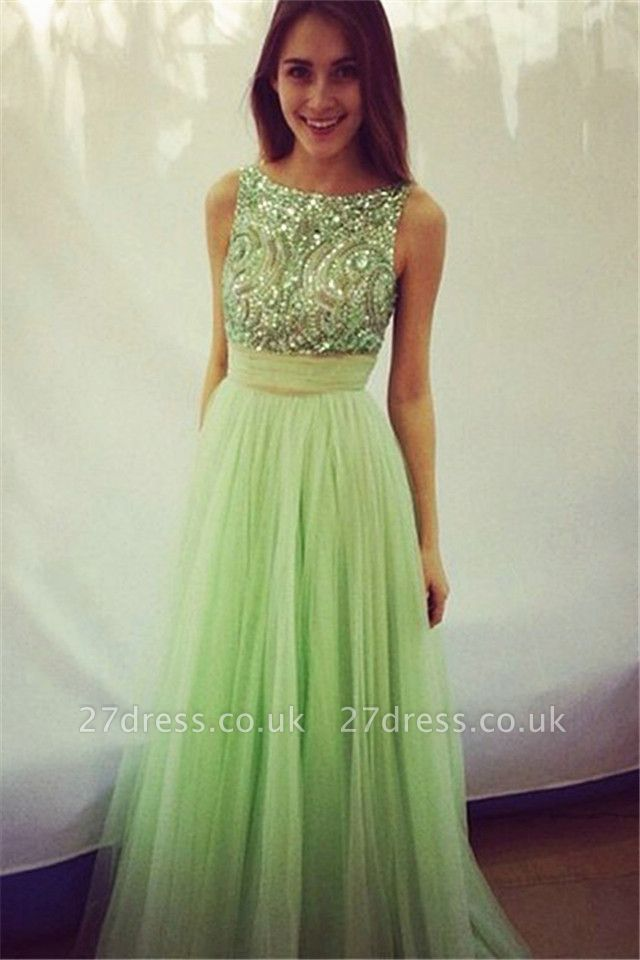 Delicate Crystals Tulle Prom Dress UK Bowknot A-line