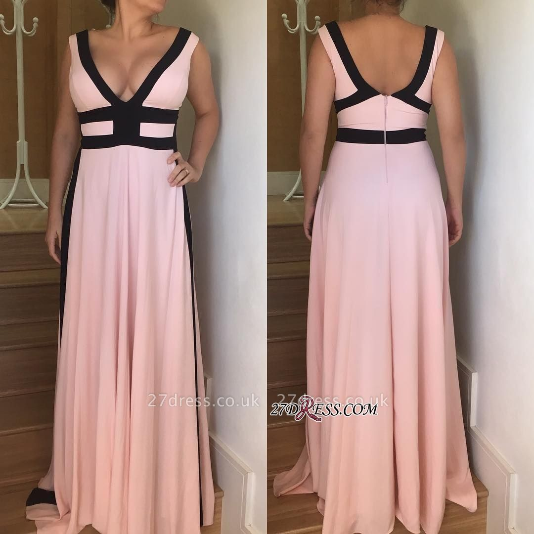 V-neck long prom Dress UK, evening party gowns