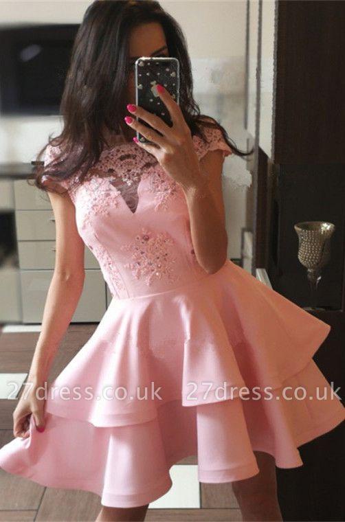 Pink Cap Sleeve 2019 Homecoming Dress UK | Lace Layers Sort Party Dress UK