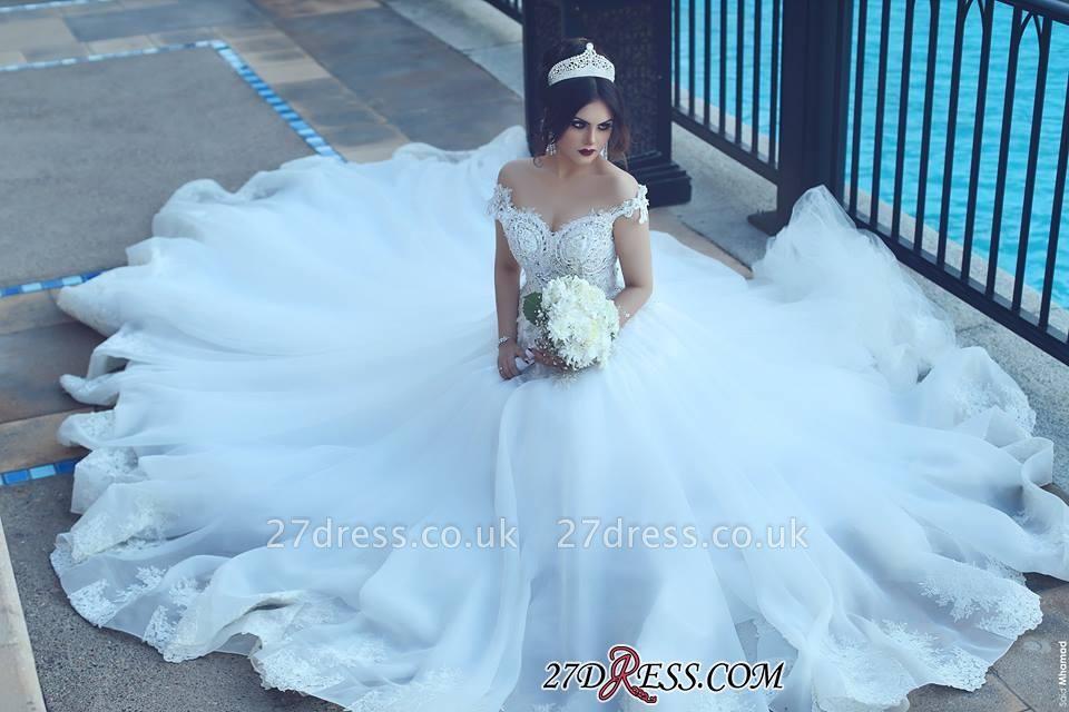 Crystal Elegant Ball Tulle Off-the-Shoulder Appliques Wedding Dress