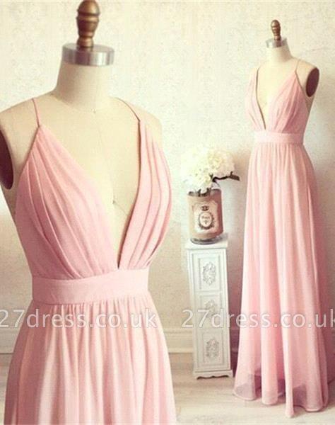 Sexy Pink Long chiffon Prom Dress UK Summer Floor Length