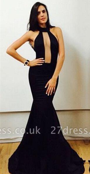 Elegant Black High-Neck Mermaid Prom Dress UKes UK Floor Length Evening Gowns