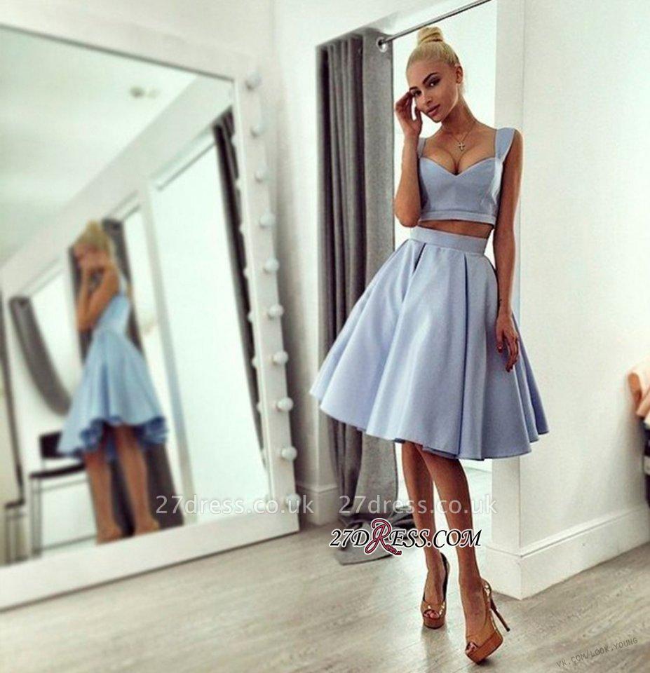 Chic Ball-Gown Knee-length Straps Light-blue Prom Dress UK