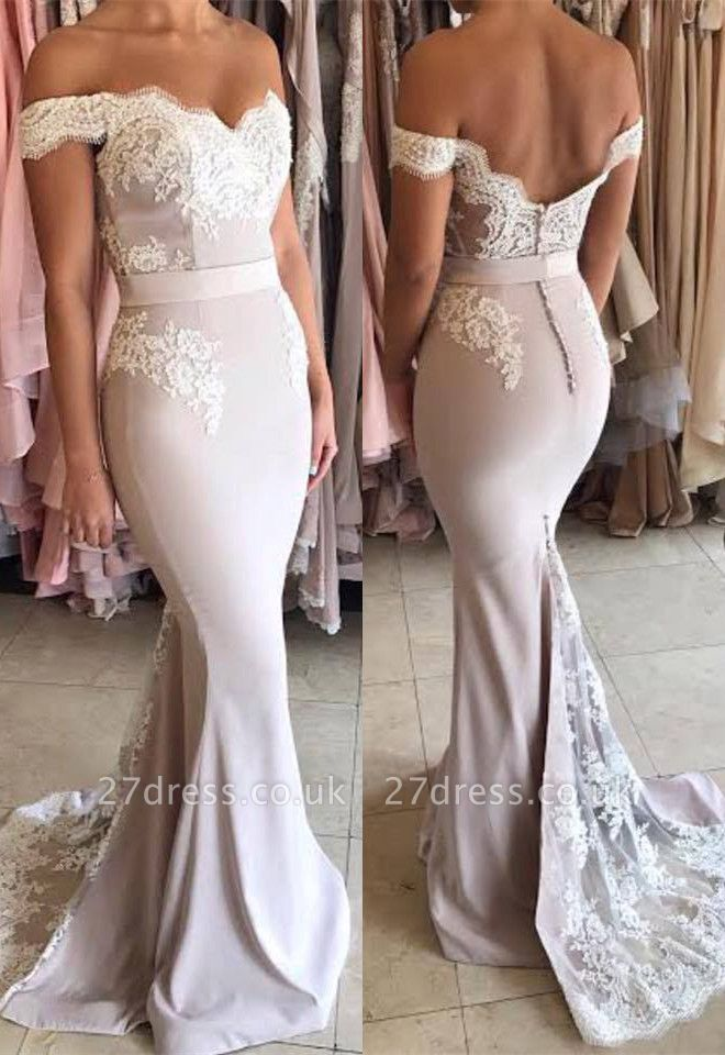Gorgeous Off-the-Shoulder Lace Mermaid Prom Dress UK Zipper Button Back