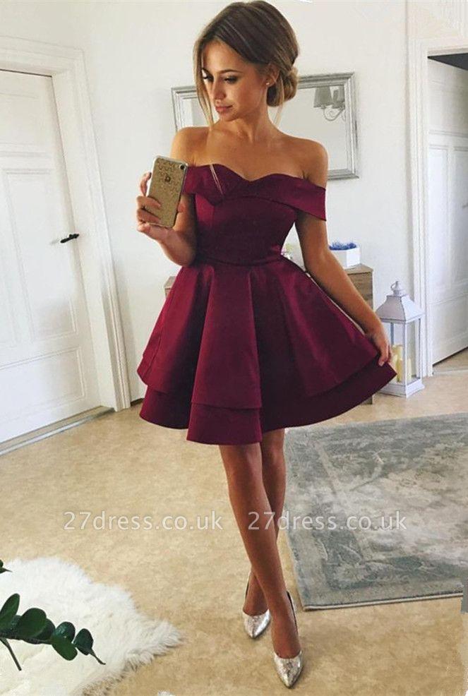 Sexy Off-the-Shoulder Short Homecoming Dress UK | Mini Party Dress UK
