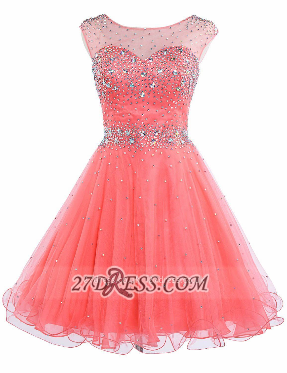 Lovely Illusion Cap Sleeve Short Homecoming Dress UK Beadings Crystals Zipper Cocktail Gown