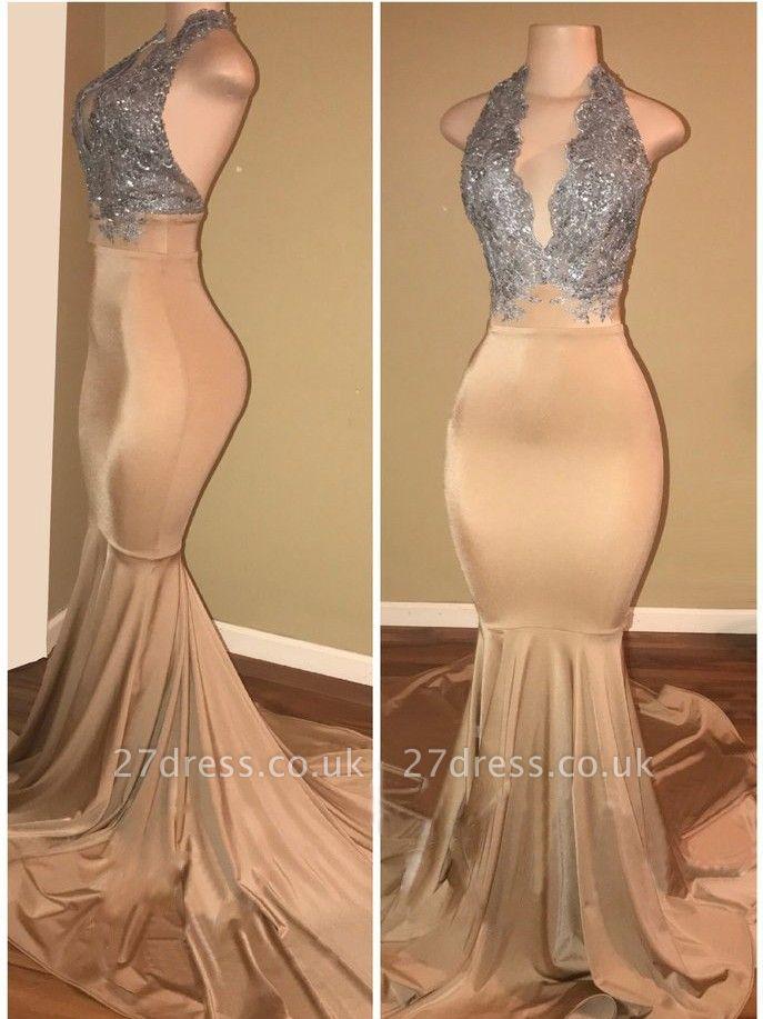 Sexy V-Neck Sleeveless Prom Dress UK Long Mermaid With Sequins BA7774