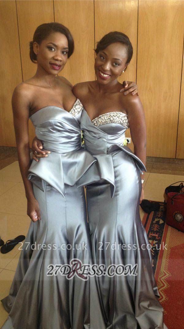 Elegant Sweetheart Sleeveless Mermaid Prom Dress UK Floor-length With Beadings