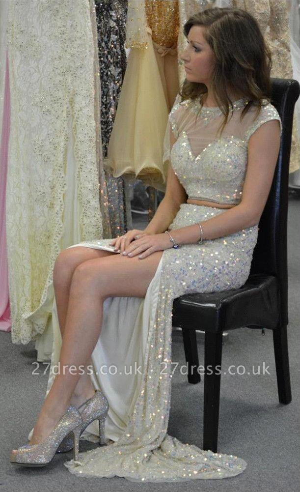 Gorgeous Cap Sleeve Sequins Prom Dress UKes UK Two Pieces Slit Beadings