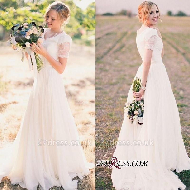 A-line Popular Short-Sleeves V-neck  Modest Lace Wedding Dresses UK