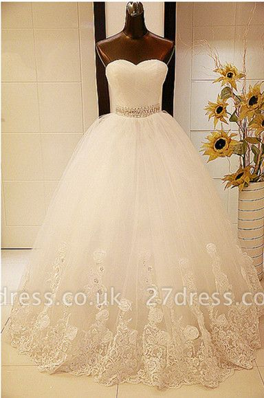 Elegant Sweetheart Sleeveless Ball Gown Wedding Dress With Tulle Lace Beadss