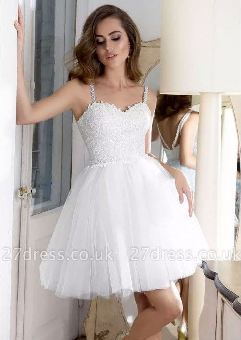 Lovely Sweetheart Straps Short Prom Dress UK | Tulle Homecoming Dress UK With Appliques