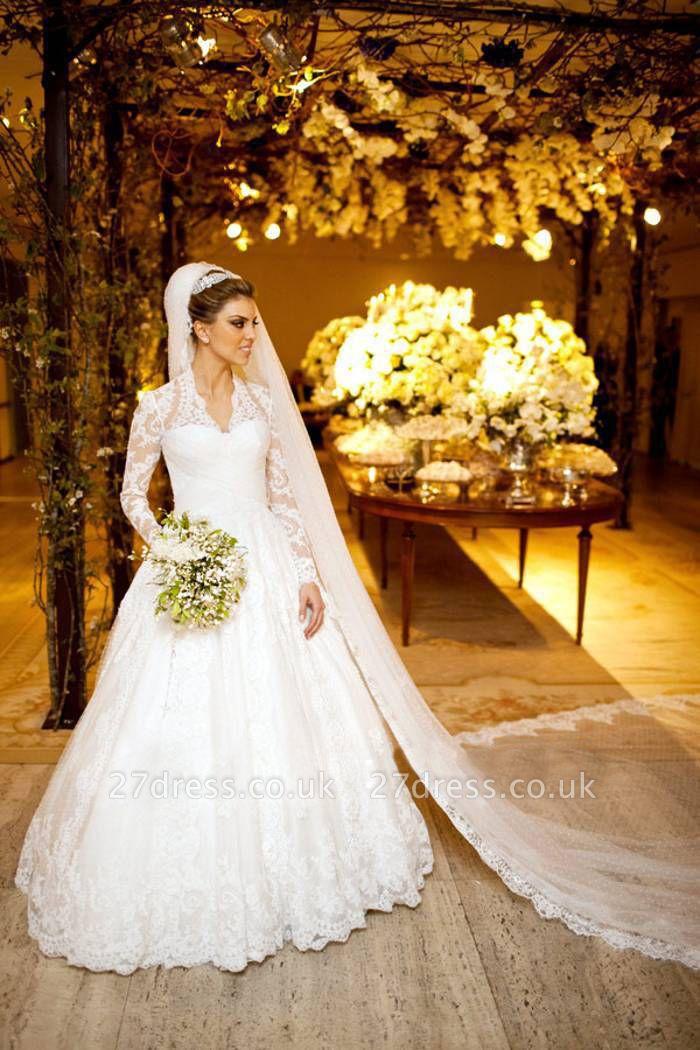 Elegant V-neck Long Sleeve Lace Wedding Dress Ball Gown