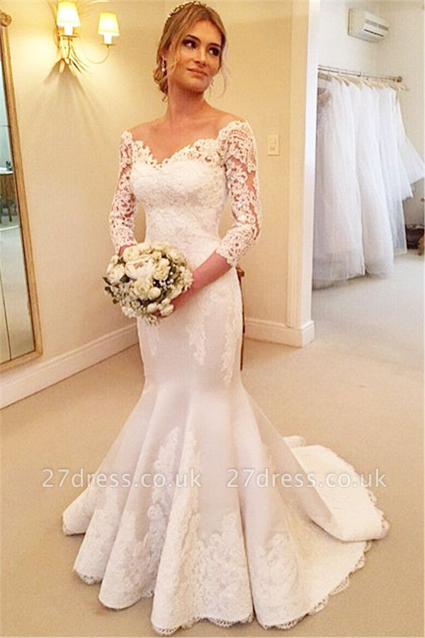 Modern Off-the-shoulder 3/4-longth-sleeve Sexy Mermaid Wedding Dress With Lace Appliques