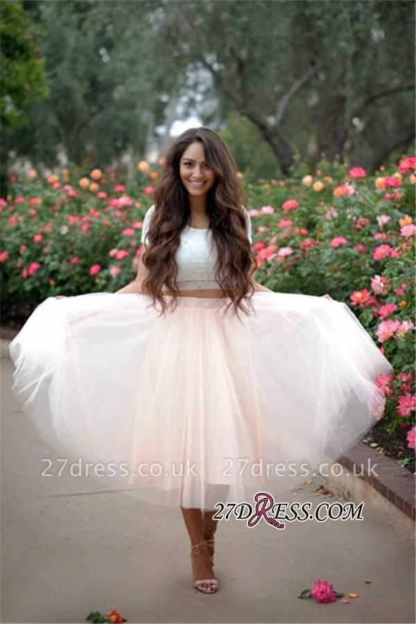 Lace Two-Pieces Tulle Cheap A-line Short-Sleeves Homecoming Dress