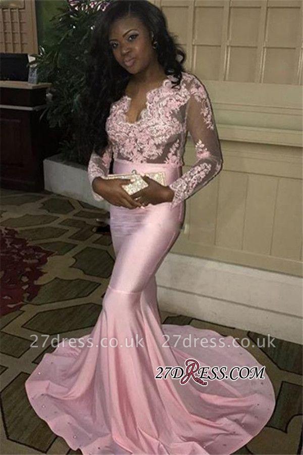 V-neck Long Mermaid Long-Sleeves Pink Lace-Appliques Sweep-Train Evening Dress UK BK0 ba7832