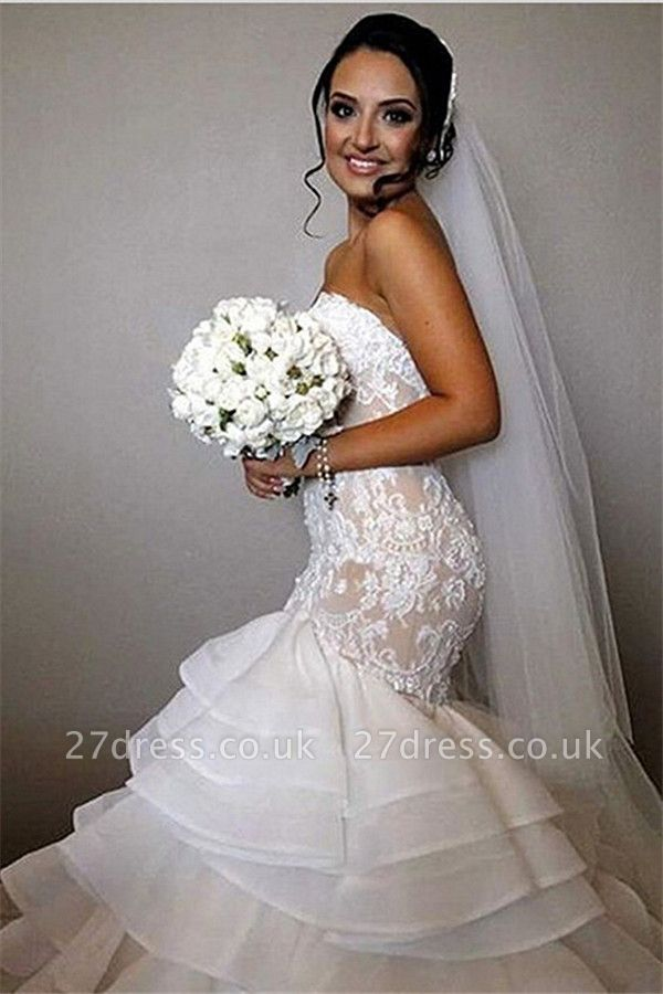 Elegant Lace  Sexy Mermaid Wedding Dress Tiered Open Back Strapless Wedding Gowns BA1540