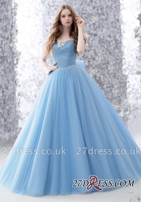 Beads A-line Strapless Tulle Romantic Bow Sleeveless Evening Dress UK