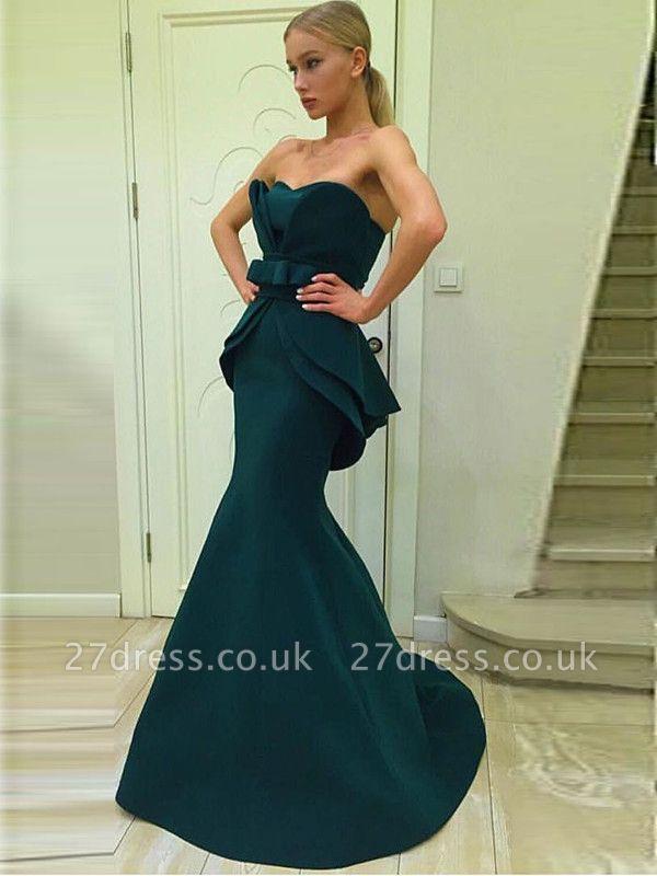 Sexy Green Designer Ruffles Evening Dress UK Mermaid Long On Sale BA7470