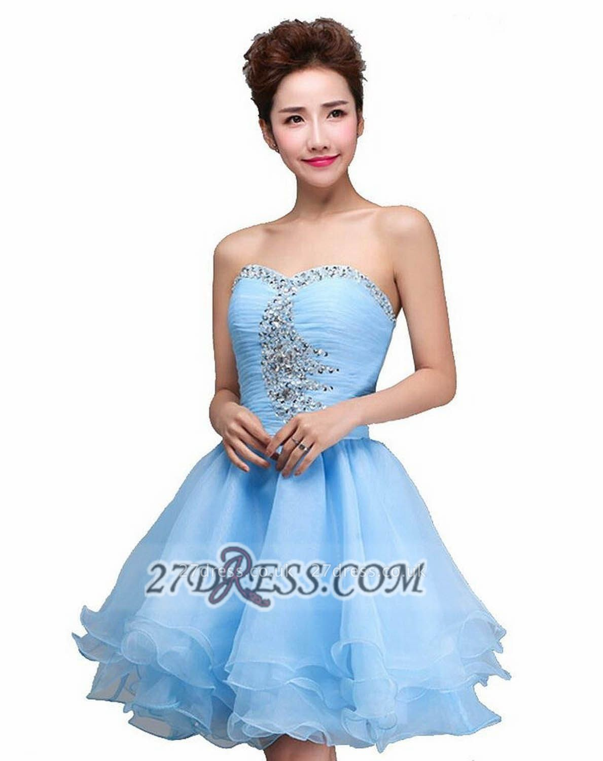 Sexy Semi-sweetheart Sleeveless Short Cocktail Dress UK Beadings Crystals Lace-up Ruffles Homecoming Gown