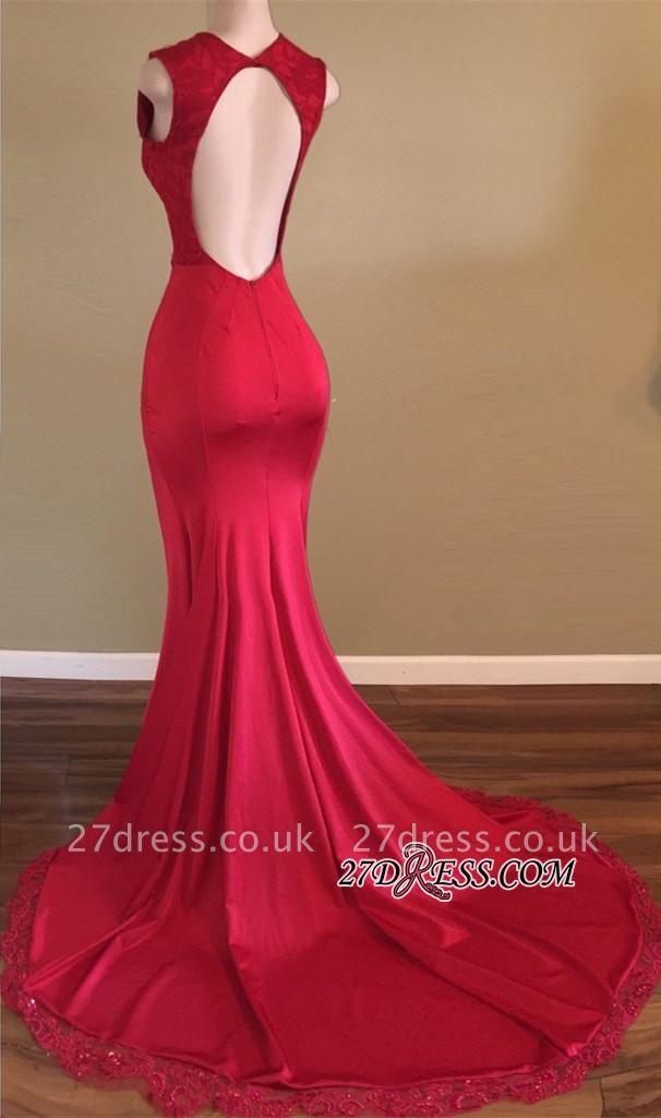 Backless Front-Split Beads Red Newest Sleeveless V-neck Prom Dress UK SP0294