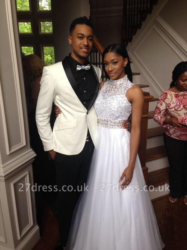 Elegant White Beadss Tulle Wedding Dress Halter Floor-length