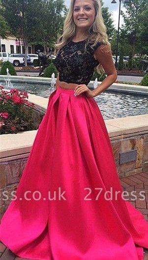 Newest Lace Two Piece Prom Dress UK Sweep Train Jewel