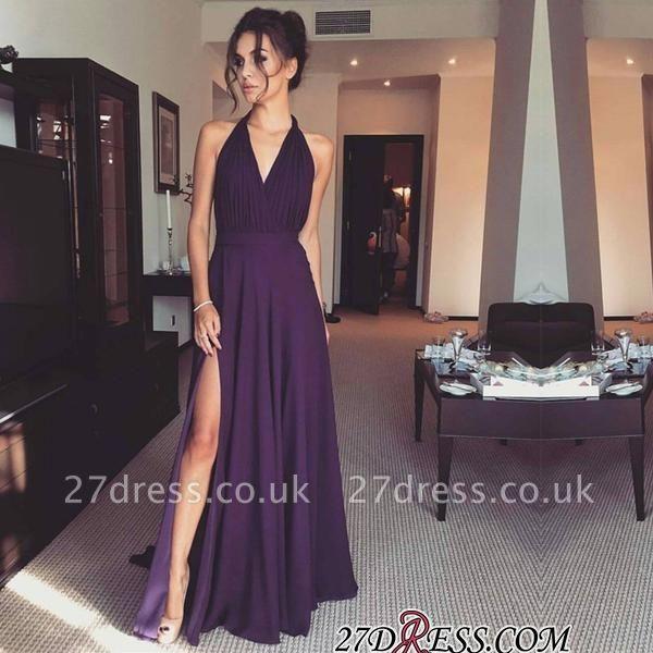 Halter Front-Split Chiffon Long A-line Modern Prom Dress UK