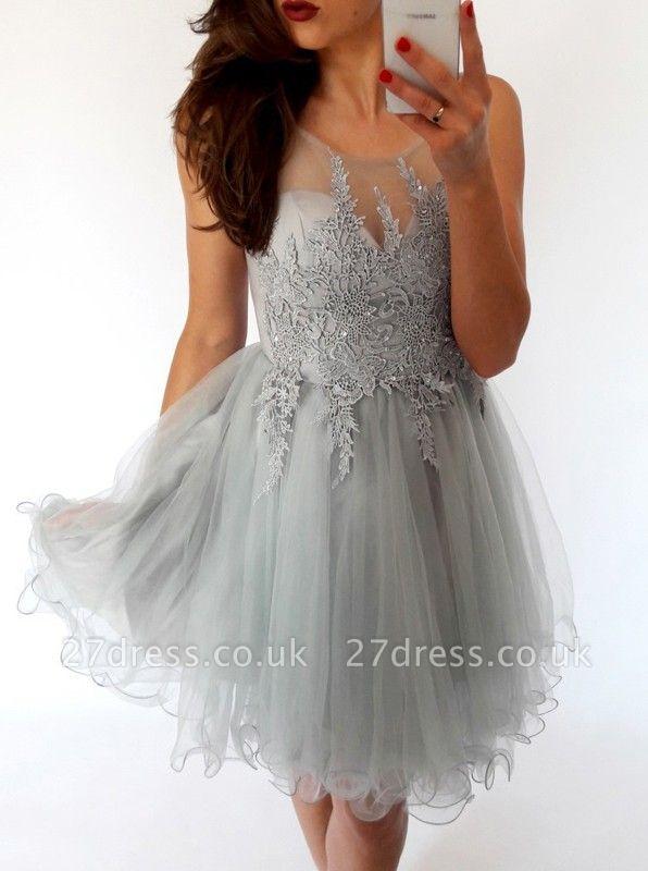 Sexy Sleeveless Short Homecoming Dress UK   Lace Tulle Mini Party Dress UK
