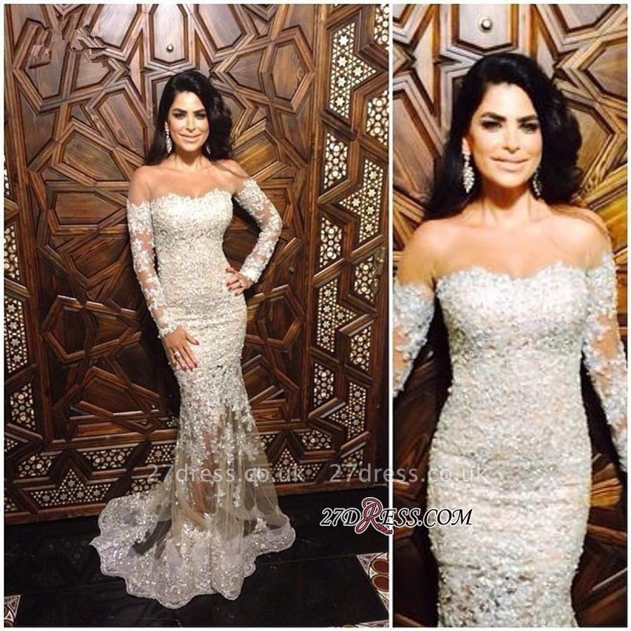 Mermaid Long-Sleeve Appliques Elegant Off-The-Shoulder Lace Charming Illusion Evening Dress UK JJ0151