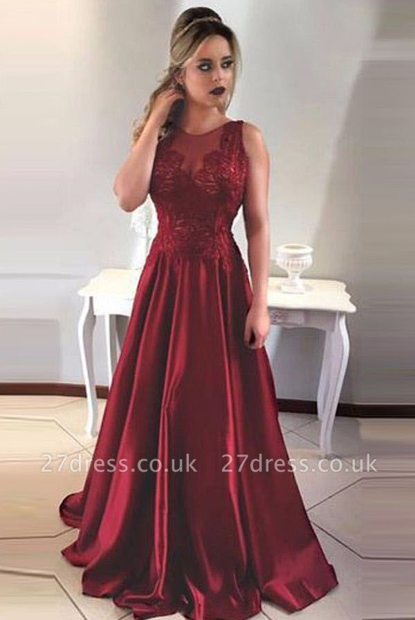Luxury Sleeveless Long Prom Dress UK A-Line Lace Party Gowns ba7956