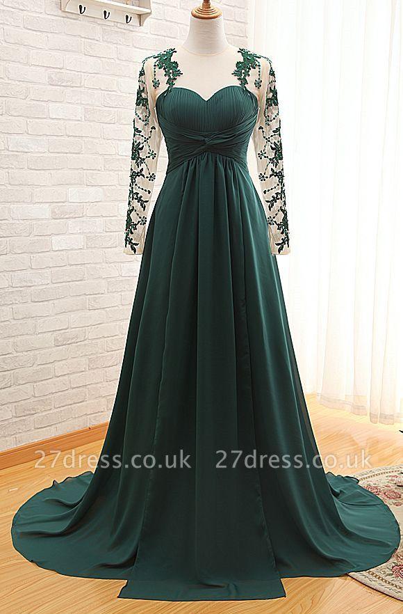 Sexy Long Sleeve Dark Green Evening Dress UK Chiffon Long With Appliques