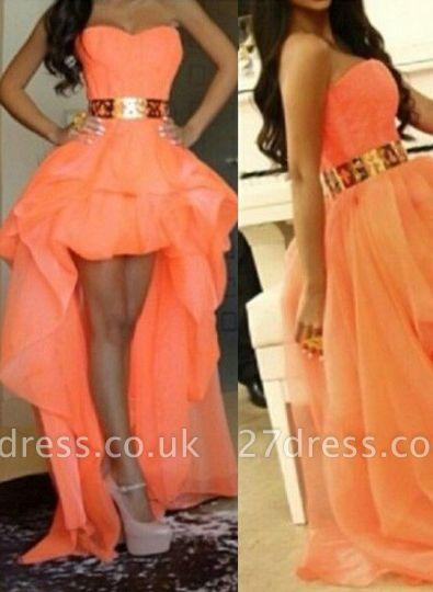 Elegant A-line Long Prom Dress UKes UK Sweetheart Asymmetrical Gold Sash Girls Hi-lo Evening gown