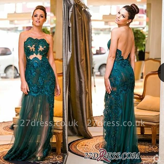 Sexy Floo-length Dark-Green Sleeveless Scoop Evening Gown