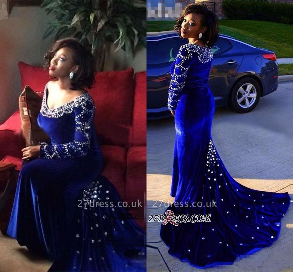 Velevt Mermaid V-Neck Long-Sleeves Elegant Royal-Blue Crystal Prom Dress UK