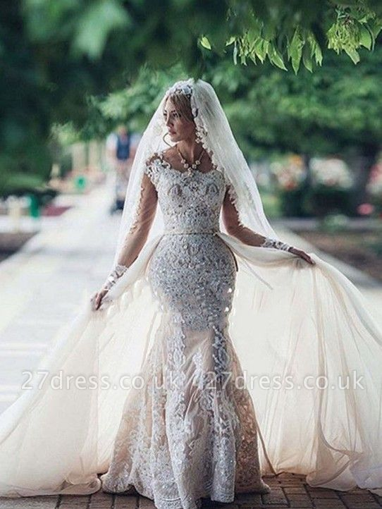 Elegant Sexy Mermaid Long Sleeves Lace Wedding Dresses UK Scoop Neckline Appliques Detachable Skirt Bridal Gowns