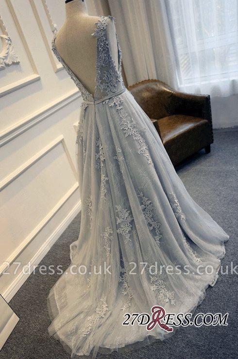 Long A-line Lace-Appliques Backless Sleeveless Prom Dress UKes UK BA5343