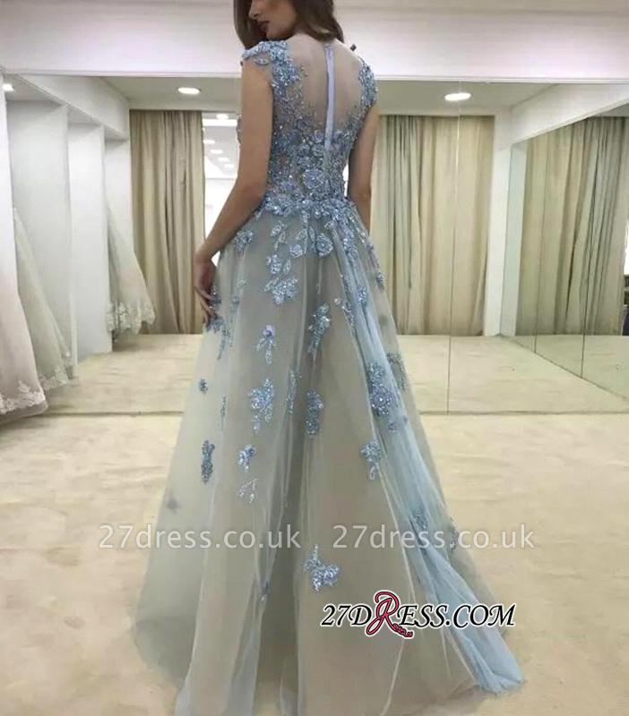 Lace Mermaid Appliques Gorgeous Ruffle Cap-Sleeve Evening Dress UK